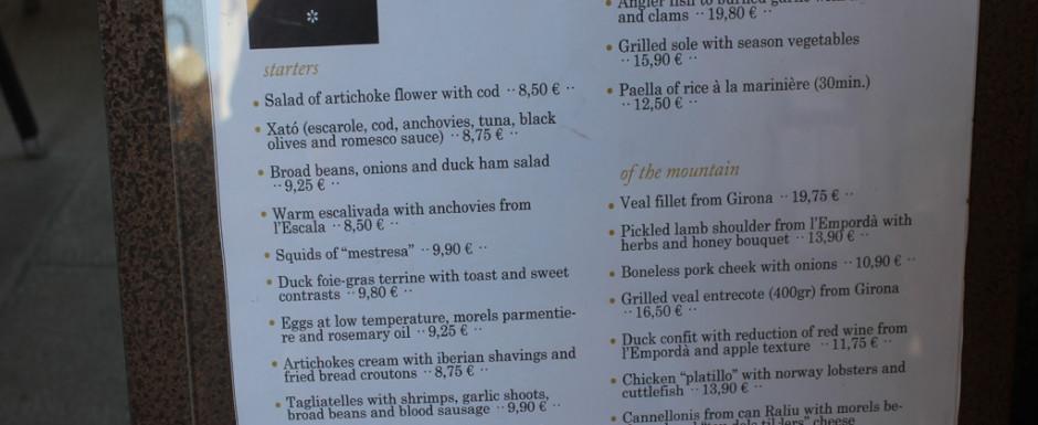 Food, menu at boira