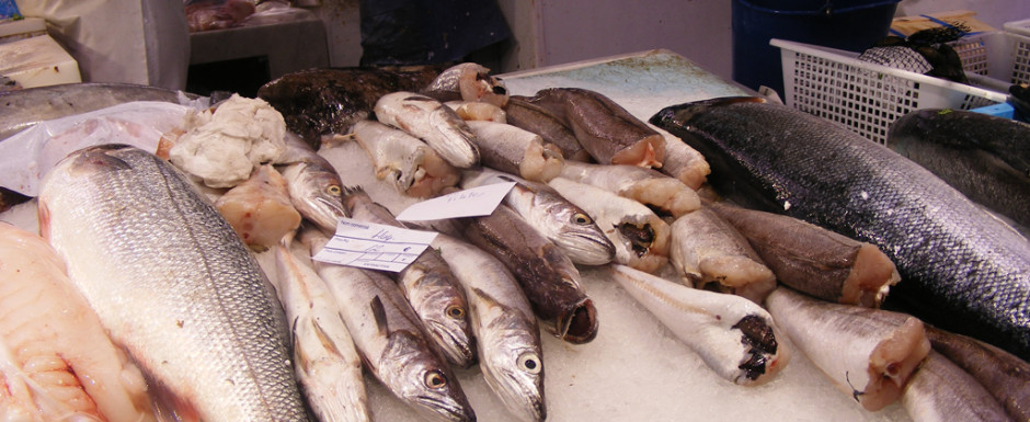 Fish in the market in Sant Feliu de Guixols where our holiday rental is located