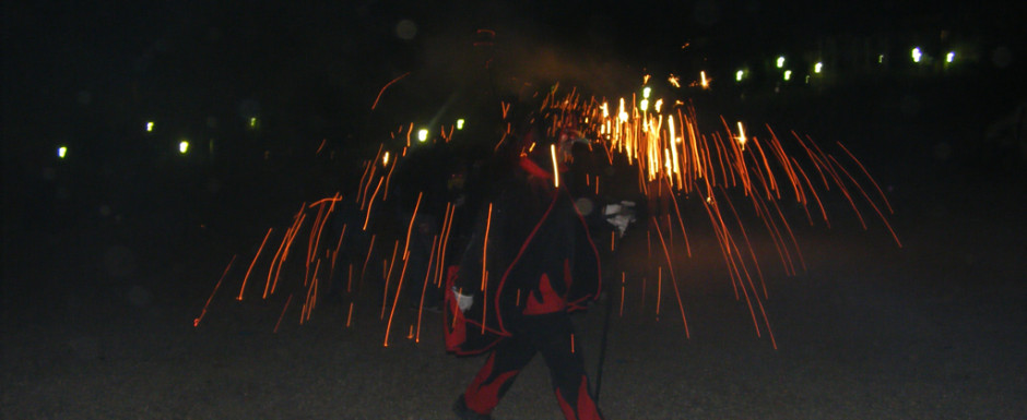 Firework display at a village fiesta near our holiday rental on the Costa Brava
