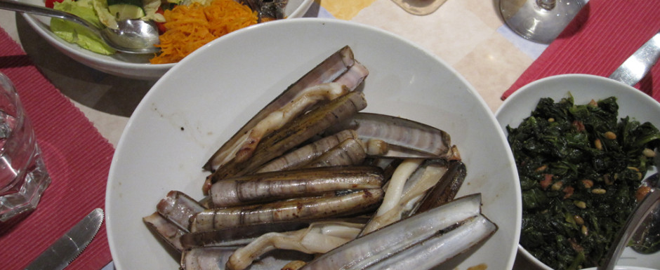 Seafood is what to eat on the Costa Brava. Razor shell clams are a delight in Sant Feliu de Guixols