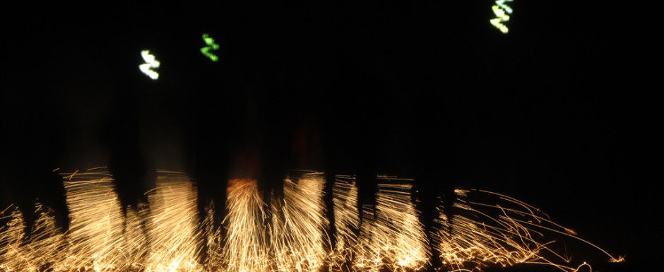 Fireworks at a fiesta near our holiday home in Sant Feliu de Guixols